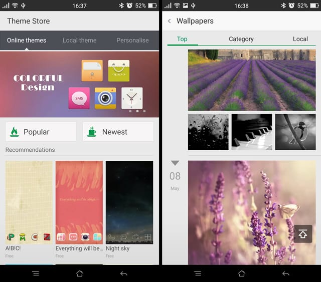 The themes are the theme store are endless. The wallpaper connects to an online repository and it has loads of wallpapers to suit your taste.