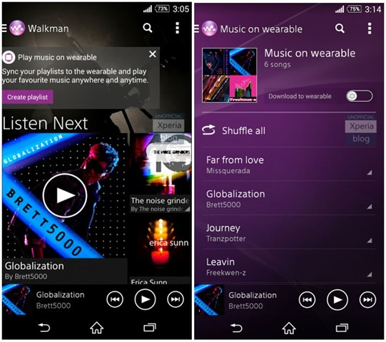 Sony Walkman app updated with Android Wear support